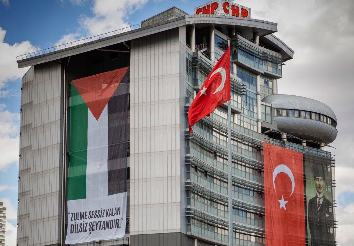 CHP Genel Merkezi ne Filistin bayrağı asıldı  #1