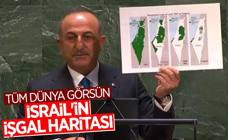 Mevlüt Çavuşoğlu, BM Genel Kurulu'na İsrail'in işgal haritasını gösterdi