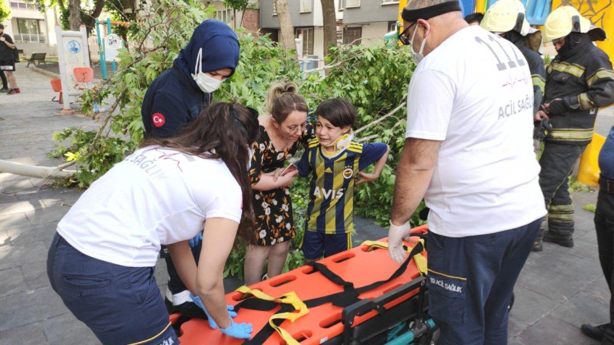 Denizli de üzerine ağaç devrilen çocuk iğneden korktuğu için ambulansa binmedi #3