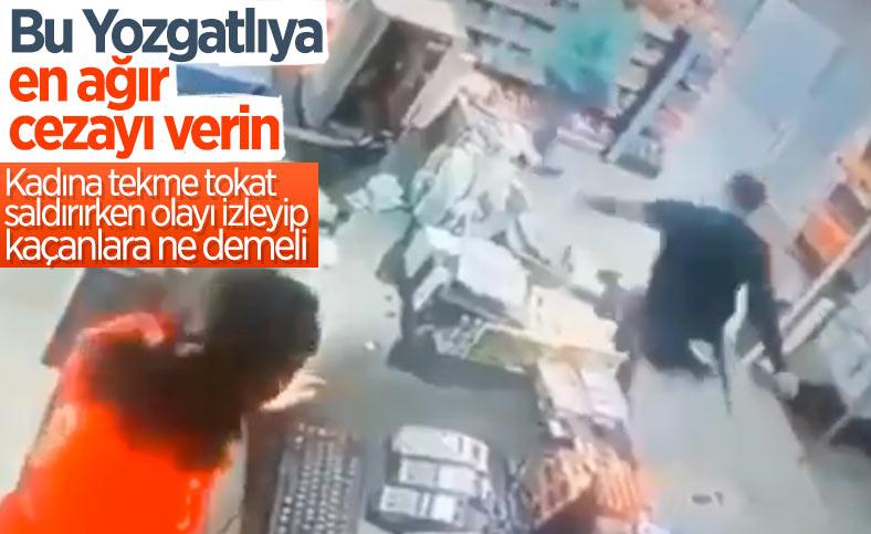 Yozgat'taki benzinlikte, kadının dayak yemesini film gibi izlediler
