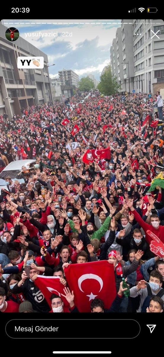 Fransa da Lille taraftarından  Türk bayraklı  şampiyonluk kutlaması #2