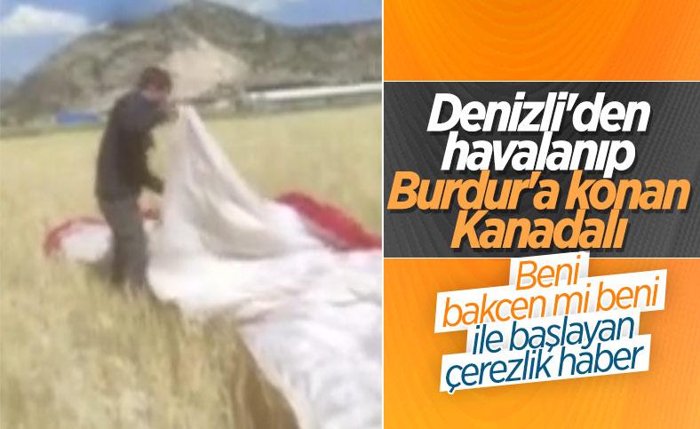 Burdur'da çiftçiyle yamaç paraşütçüsünün güldüren diyaloğu