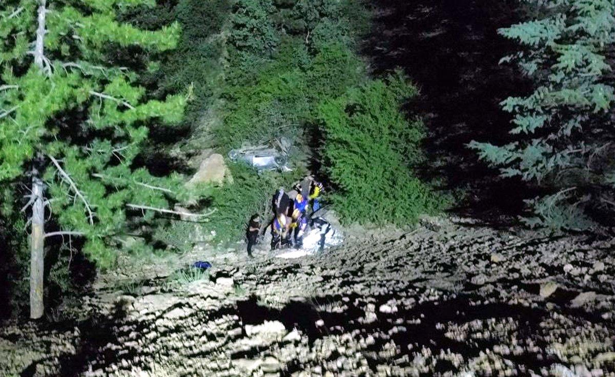 Afyonkarahisar da otomobil uçuruma yuvarlandı: 1 ölü, 4 yaralı #1