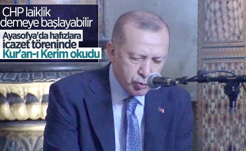 Cumhurbaşkanı Erdoğan, Ayasofya Camii'nde Kur'an okudu