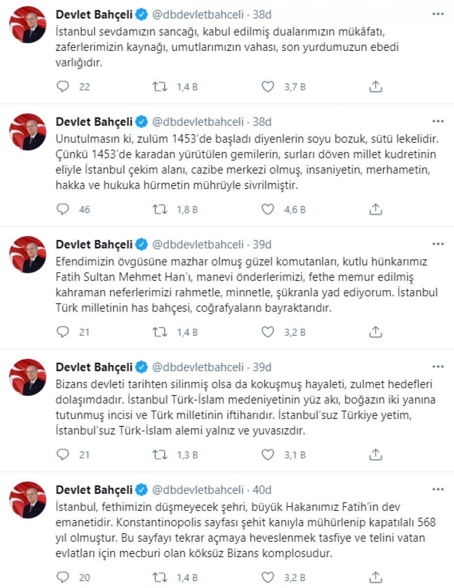 Devlet Bahçeli den İstanbul un fethi mesajı: Yankıları devam ediyor #4