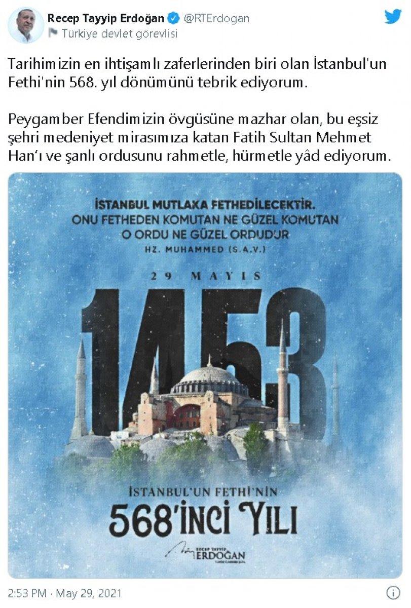 Cumhurbaşkanı Erdoğan ın İstanbul un Fethi mesajı, Yunan medyasını rahatsız etti #1