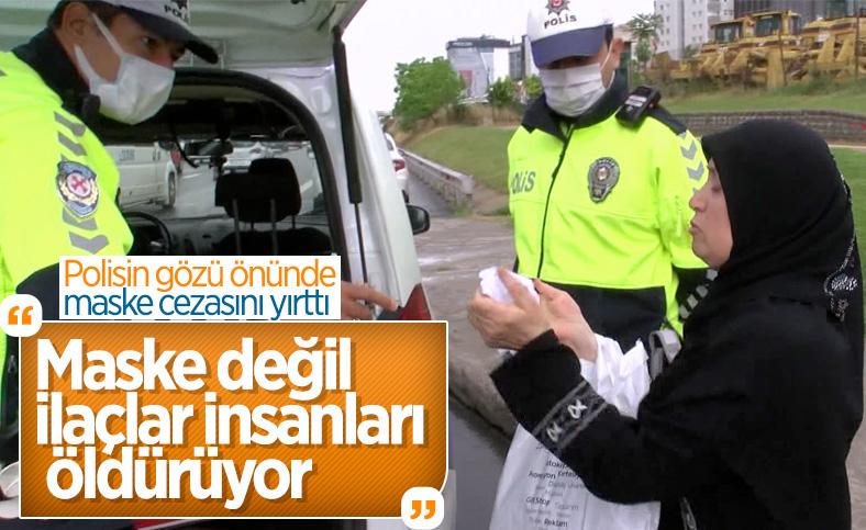 Maltepe'de minibüste maske takmayıp ceza yiyen kadın, makbuzu yırttı