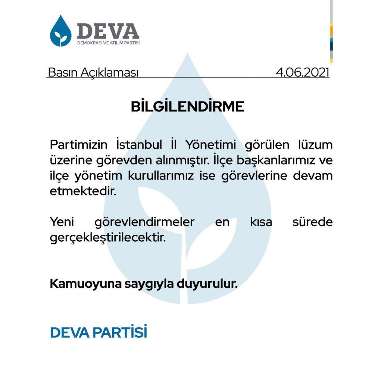DEVA Partisi İstanbul İl Yönetimi görevden alındı #1