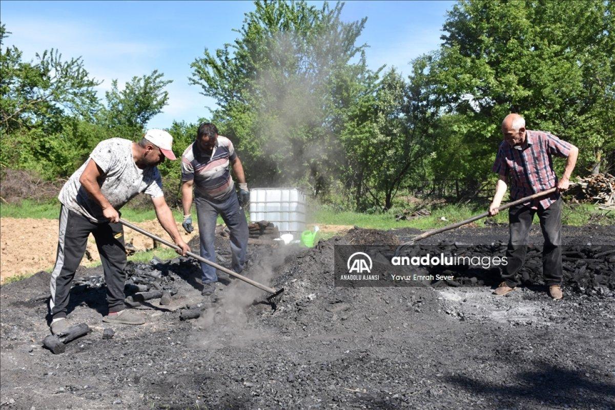 Bilecik te meşe odunlarını mangal kömürüne dönüştürüyorlar #5