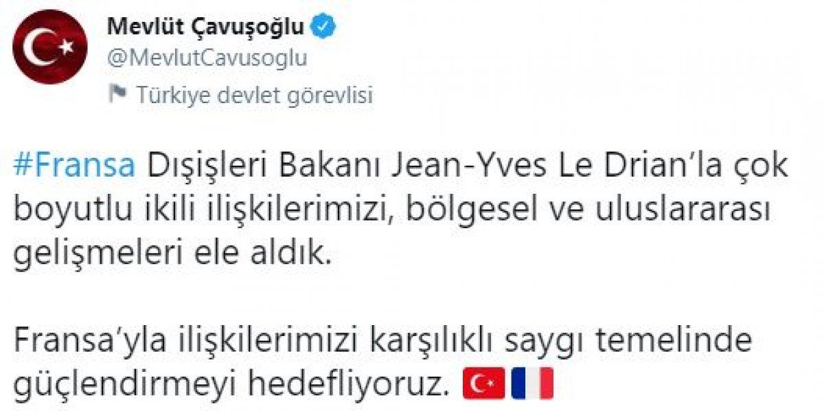 Mevlüt Çavuşoğlu, Fransız mevkidaşı Le Drian ile görüştü #2