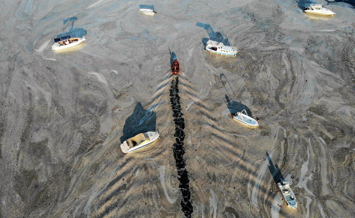 Marmara Denizi ndeki müsilaj belası havadan görüntülendi #6