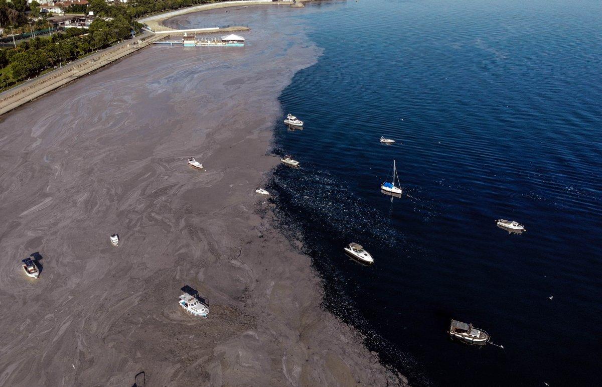 Marmara Denizi ndeki müsilaj belası havadan görüntülendi #2