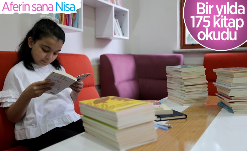 İlkokul öğrencisi Nisa 1 yılda 175 kitap okudu