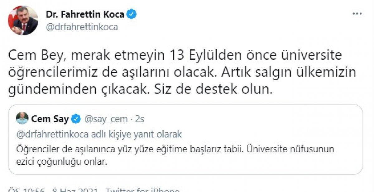 Fahrettin Koca: Üniversite öğrencilerimiz 13 Eylül den önce aşılarını olacak #1