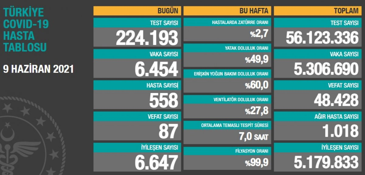 9 Haziran Türkiye nin koronavirüs tablosu #1