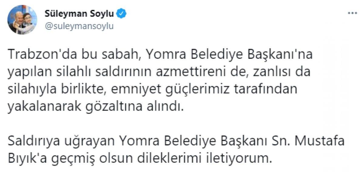 Yomra Belediye Başkanı Bıyık'a silahlı saldırıyı gerçekleştiren şahıs yakalandı #1