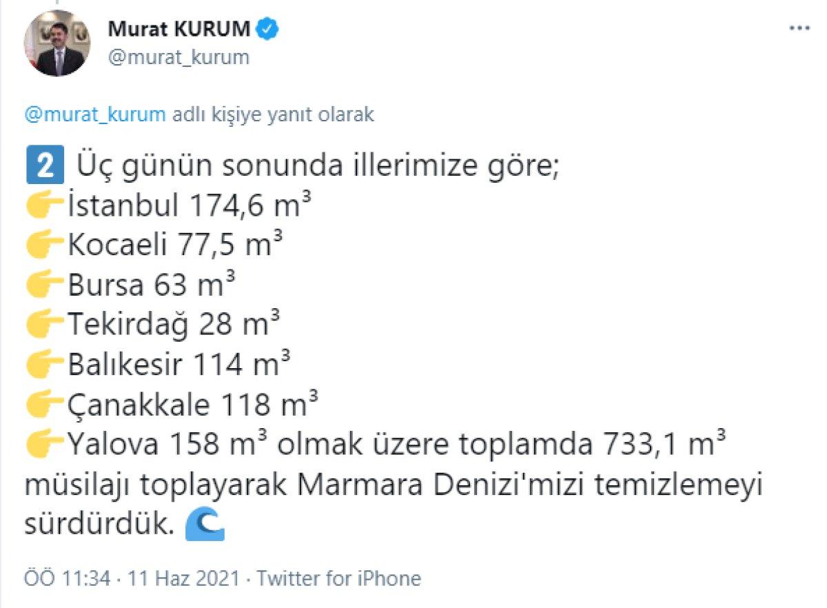 Murat Kurum: 733,1 metreküp müsilajı bertarafa gönderdik #3