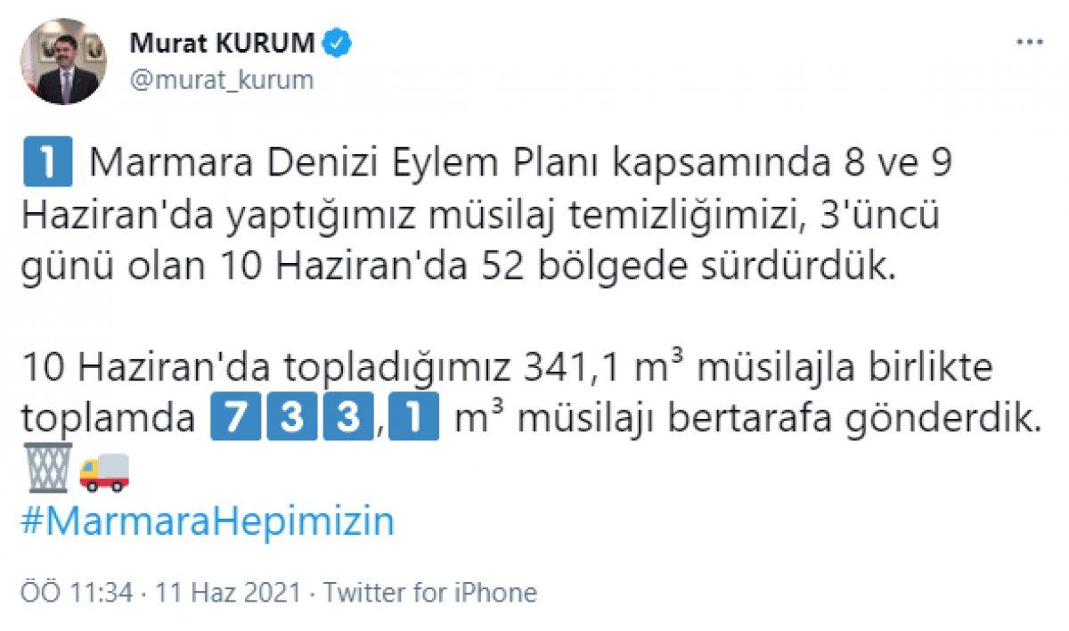 Murat Kurum: 733,1 metreküp müsilajı bertarafa gönderdik #2