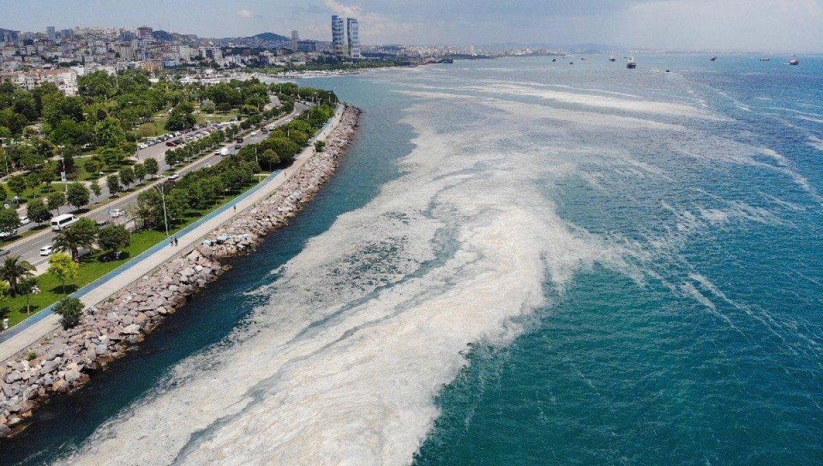 Kartal Sahili ndeki müsilaj havadan görüntülendi  #5
