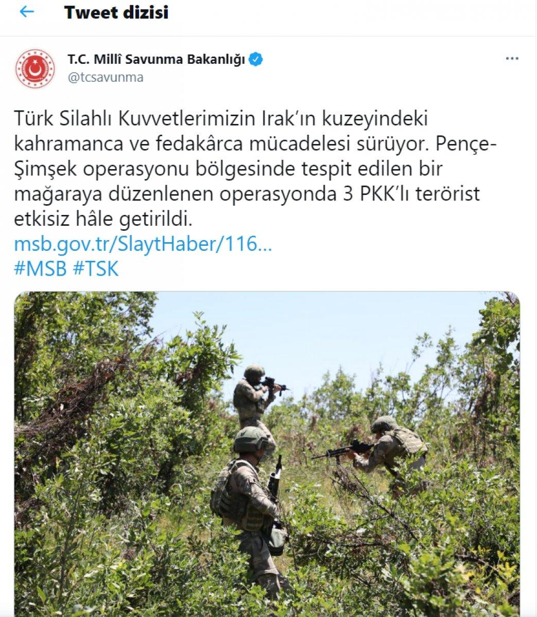 MSB: 3 PKK'lı terörist öldürüldü  #1