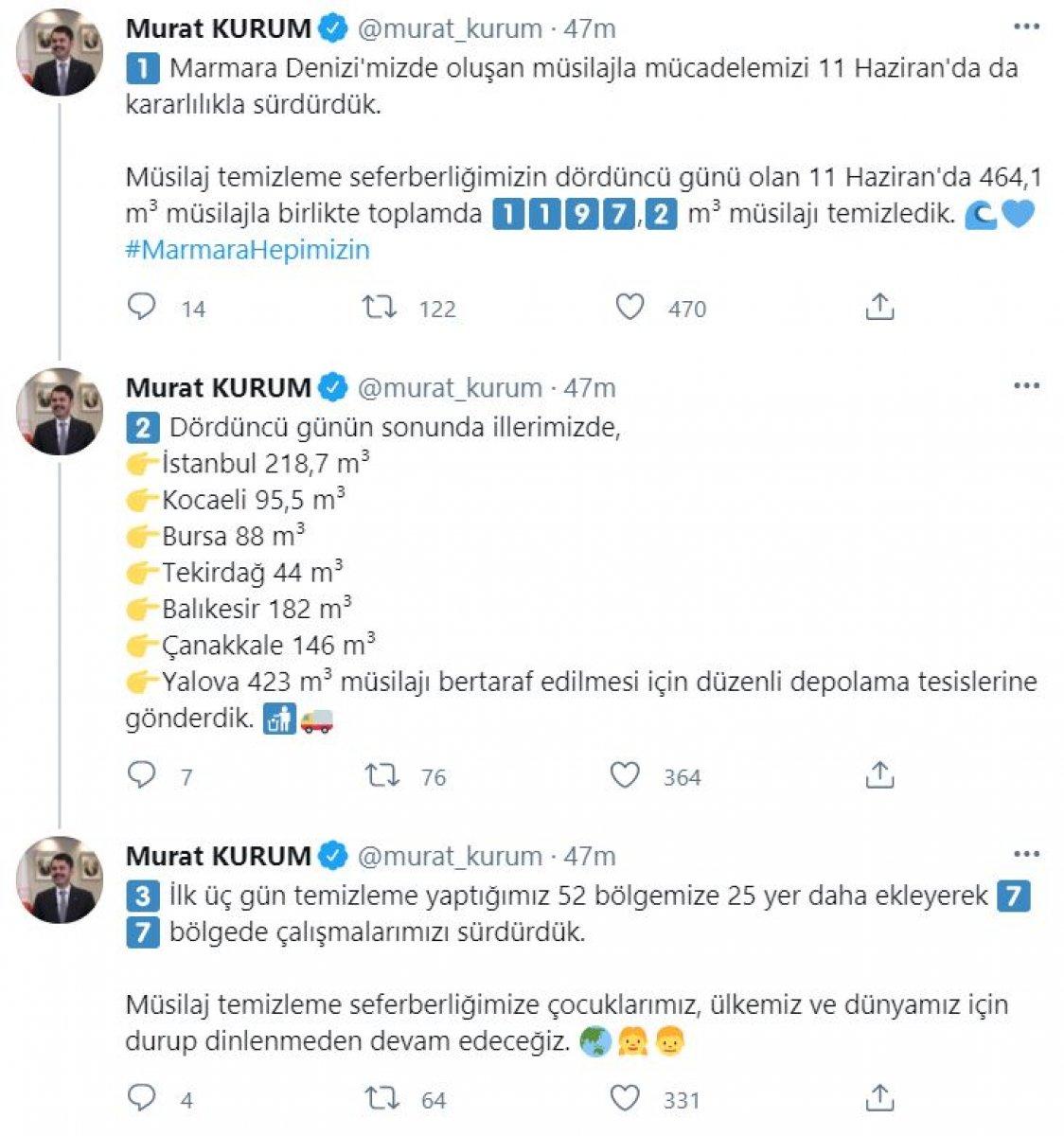 Murat Kurum, müsilajla mücadele verilerini paylaştı #2