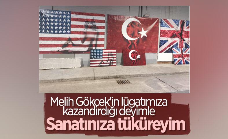 Almanya'da Türk bayrağı üzerine çizim yapıldı