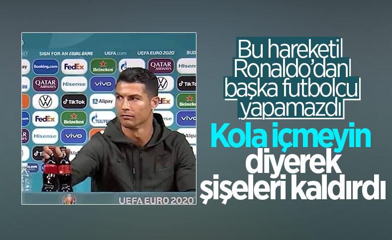 Ronaldo'dan basın toplantısında 'kola içemeyin' mesajı