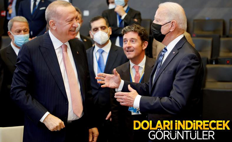 Cumhurbaşkanı Erdoğan ve Joe Biden'dan ayaküstü sohbet