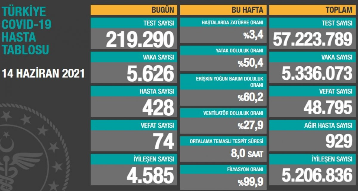 14 Haziran Türkiye nin koronavirüs tablosu #1