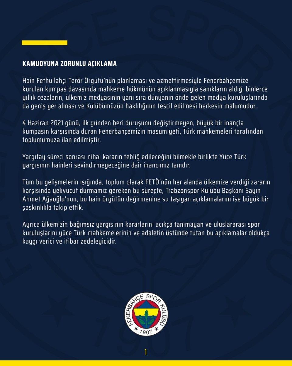 Fenerbahçe den Ahmet Ağaoğlu na cevap #3