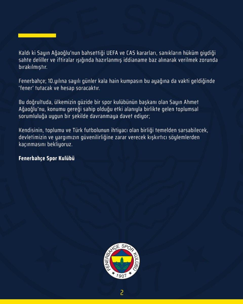Fenerbahçe den Ahmet Ağaoğlu na cevap #4
