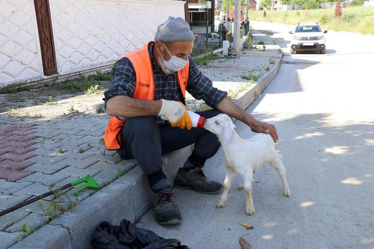 Bolu da temizlik işçisi, peşinden ayrılmayan oğlağıyla cadde ve sokakları temizliyor #2