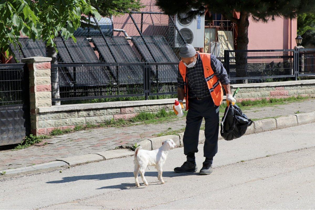 Bolu da temizlik işçisi, peşinden ayrılmayan oğlağıyla cadde ve sokakları temizliyor #3
