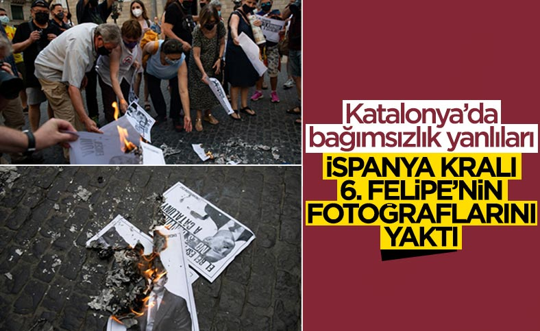 Katalonya'da bağımsızlık yanlıları İspanya Kralı'nın fotoğraflarını yaktı