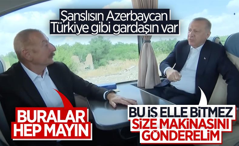 Cumhurbaşkanı Erdoğan ile Aliyev arasında Şuşa yolunda samimi sohbet