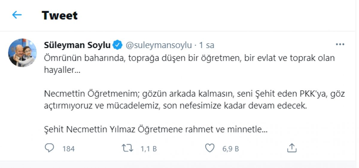 Süleyman Soylu, Necmettin Öğretmen i unutmadı  #1