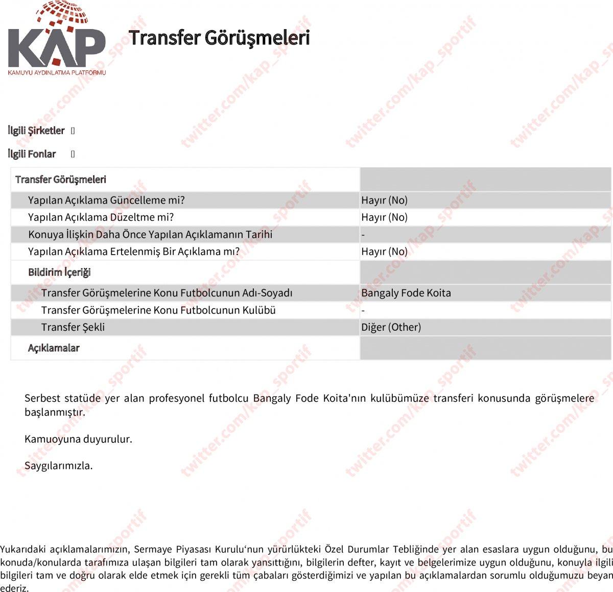 Trabzonspor, Fode Koita yı KAP a bildirdi #2