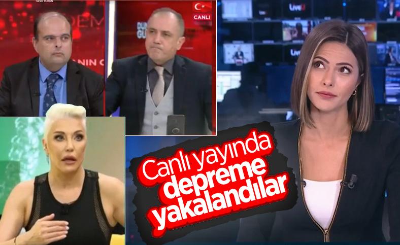 TV kanallarında canlı yayında deprem anları
