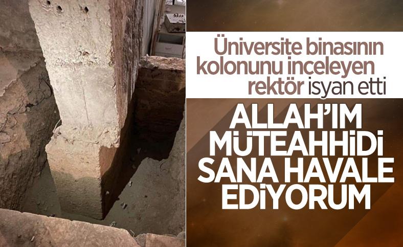 Kayık kolonu gören Fırat Üniversitesi rektörü: Müteahhidi Allah'a havale ediyorum