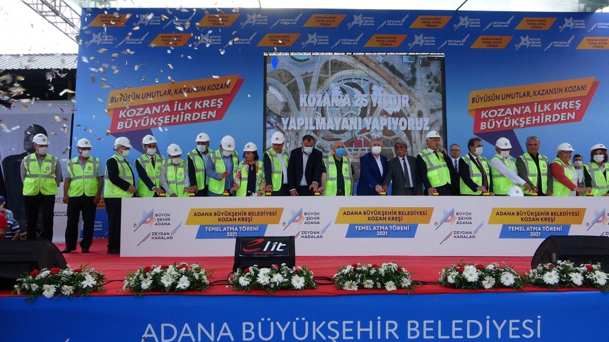 Adana da 10 belediye başkanıyla kreş temel atma töreni #4