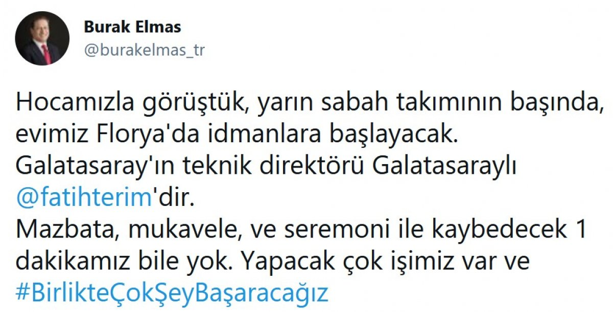 Burak Elmas: Galatasaray ın teknik direktörü Fatih Terim dir #2
