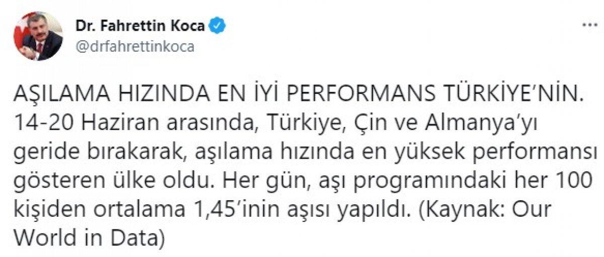Fahrettin Koca: Aşılama hızında en iyi performans Türkiye nin #1