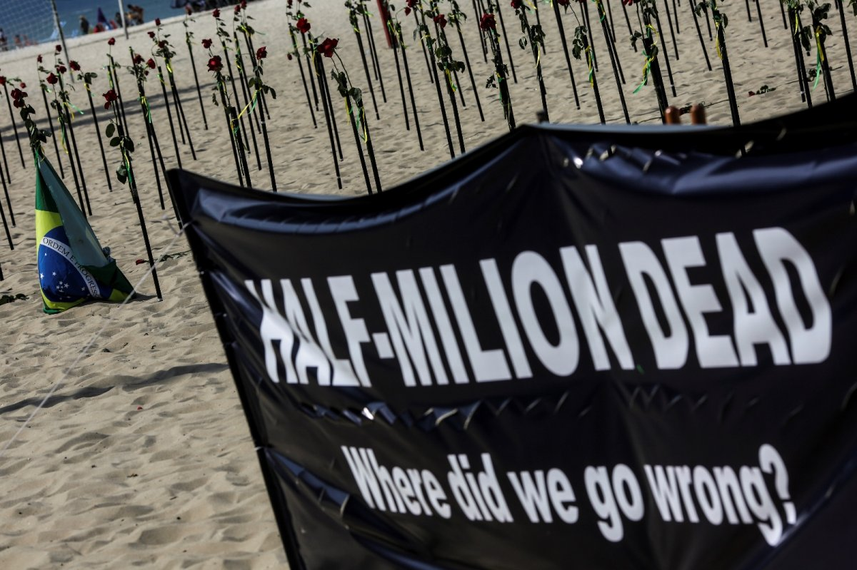 Copacabana Plajı'na koronavirüsten ölenlerin anısına 500 gül dikildi #1
