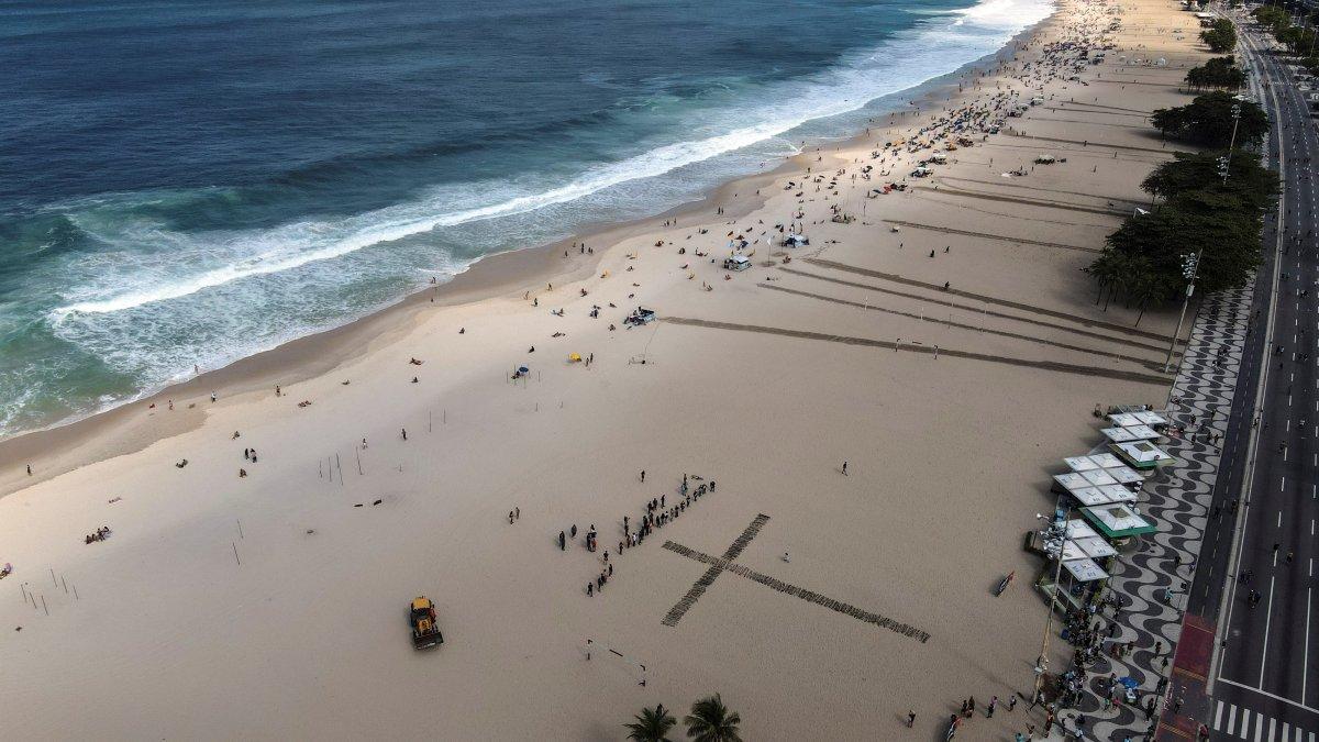 Copacabana Plajı'na koronavirüsten ölenlerin anısına 500 gül dikildi #7