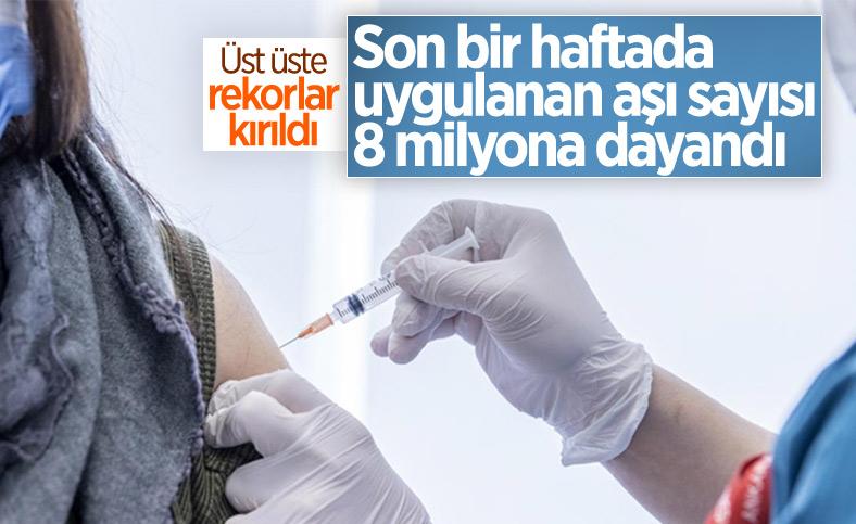 Ülke genelinde son bir haftada 7,7 milyon dozdan fazla koronavirüs aşısı uygulandı