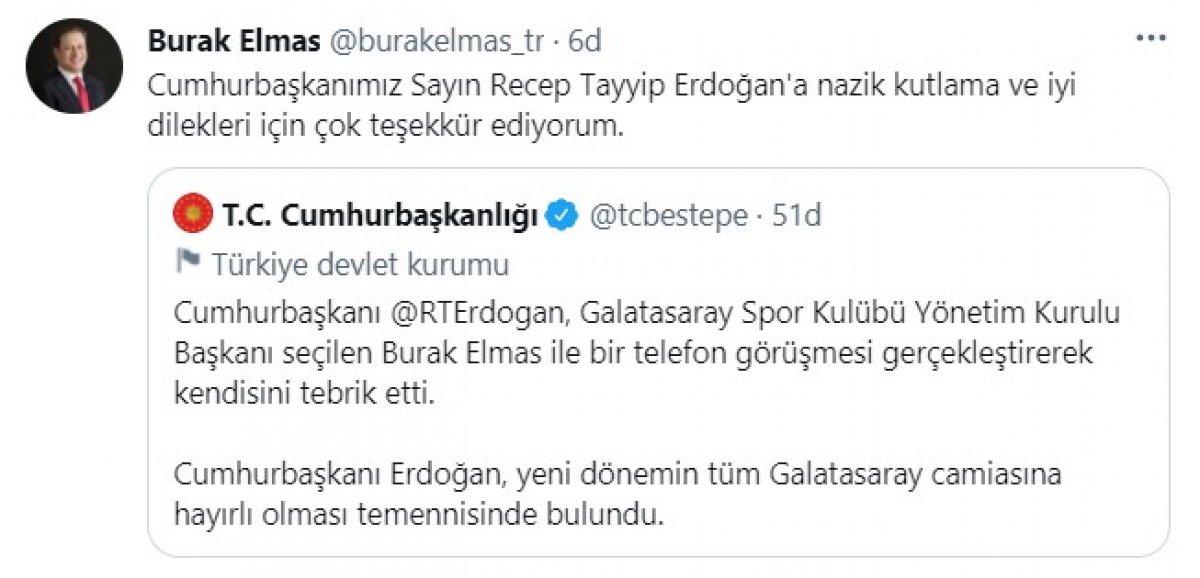 Cumhurbaşkanı Erdoğan dan, Burak Elmas a tebrik #1