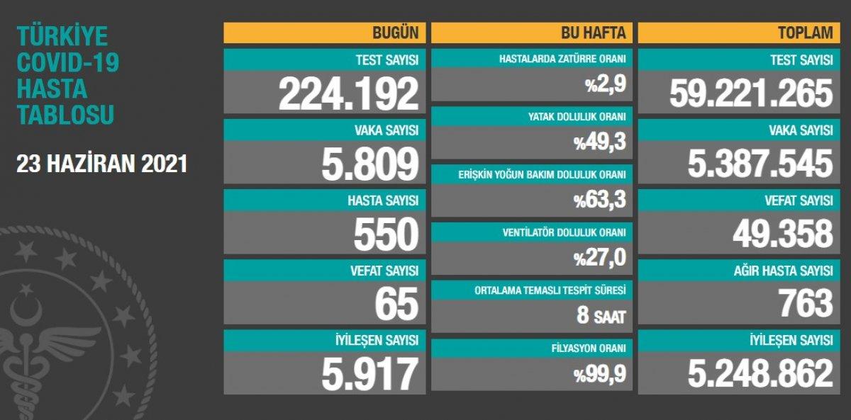23 Haziran Türkiye de koronavirüs tablosu #1
