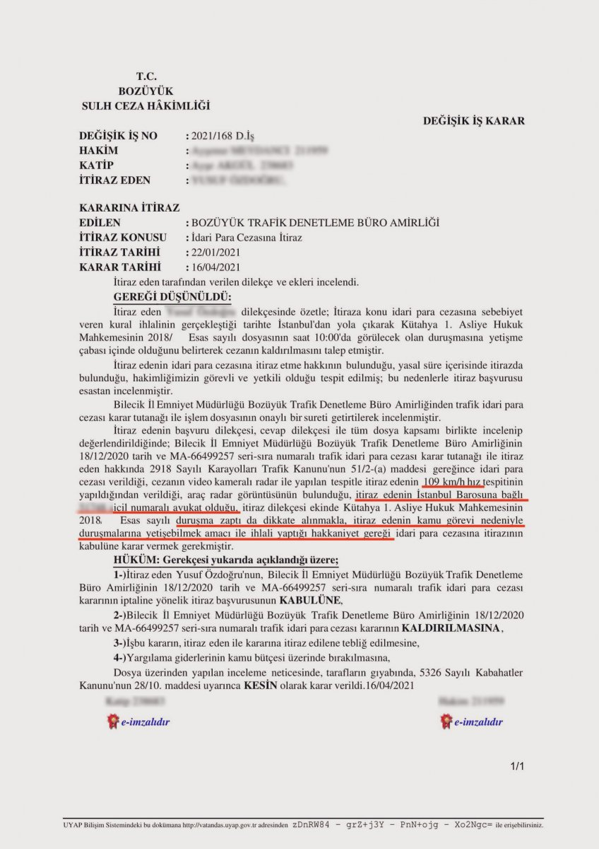 Hız ihlali yapan avukatın trafik cezasına iptal kararı #1