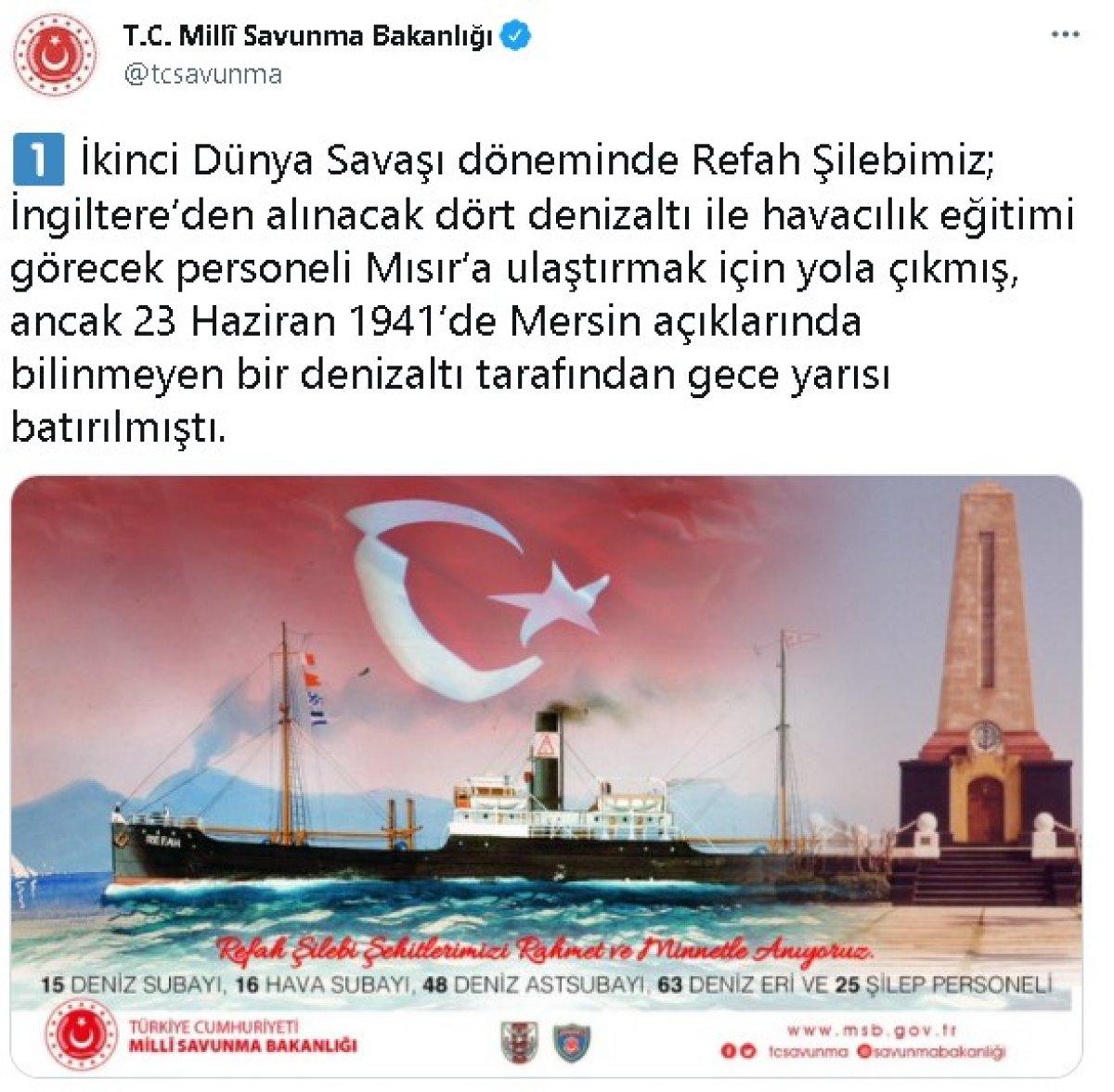 Milli Savunma Bakanlığı Refah Şilebi şehitlerini andı #1