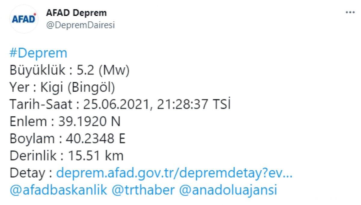 Bingöl de 5.2 büyüklüğünde deprem  #1